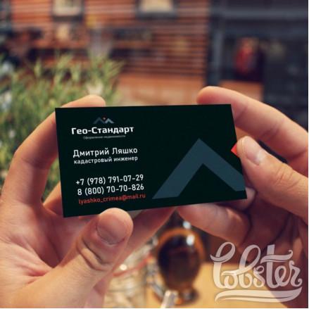 """разработка дизайна визитки для фирмы """"Гео-Стандарт"""""""